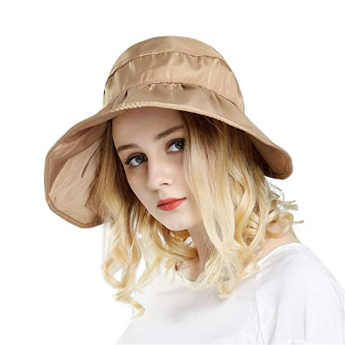 Women Sun Hats Ponytail Wide Brim UV Protection Adjustable Packable Summer Beach Visor Cap Khaki