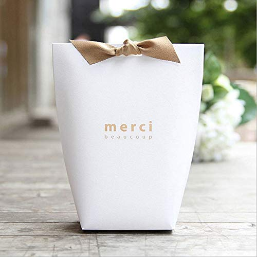 (Gift Bags Wrapping Supplies - 20pcs Black White Kraft Paper Bag French Quot Merci Thank You Gift Box Package Wedding Party Favor - Memories Limoges Thank Package Party Candy Favor Graduations Bl )
