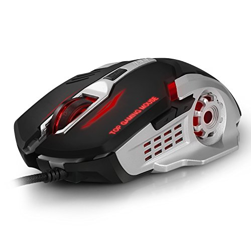 EIMELI Gaming Mouse with 4 Color Changeable LED Light, 3200 DPI (4...