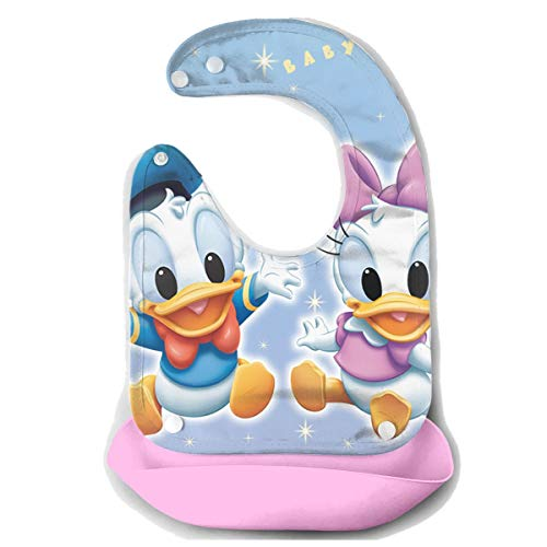 (Baby Bib Baby Donald Duck and Daisy Waterproof Feeding Bibs for Babies and Toddlers with Food Catcher Pocket Pink)