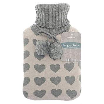 Große Wärmflasche aus Naturkautschuk, mit warmen Strickmuster, 2 l ...