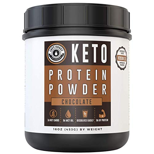 Chocolate Keto Protein Powder 25 Servings | Low Carb (1g), High Fat Protein Powder Ketogenic Diet - Add to Coffee, Smoothies, Shakes | MCT Powder, Grass-Fed Collagen Left Coast Performance