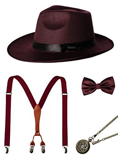 (1920s Mens Accessories Gatsby Gangster Costume Accessories Set Manhattan Fedora Hat Suspenders Bow Tie Pocket Watch (7-Burgundy)