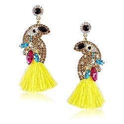 Rhinestone Bird Tassel Earrings for Women