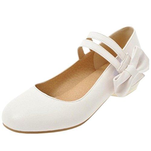 Coolcept Zapatos de Tacon Bajo con Bowknot Para Mujer White