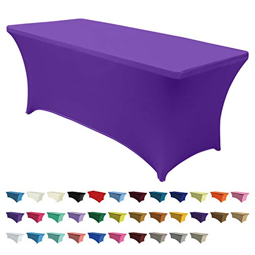 ABCCANOPY 30+ Colors Spandex Table Cover 6 ft. Fitted Polyester Tablecloth Stretch Spandex Tablecover-Table Toppers(Purple) -