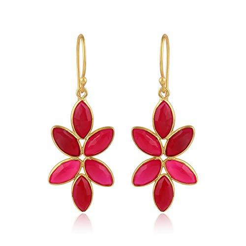 (Pink Chalcedony Dangle Earrings, Gemstone Earrings, Pink Dangle Earrings, Silver Earrings Jewelry, Beautiful Earrings, Women's Jewelry)
