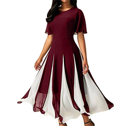 Women Short Sleeve O-Neck Summer Dresses Patchwork Long Dress Woman Sundresses