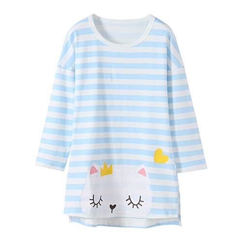 Allmeingeld Little Girls' Kitty Nightgowns Kitten Sleep Shirts Cotton Nightie Blue Long Sleeve for Toddler