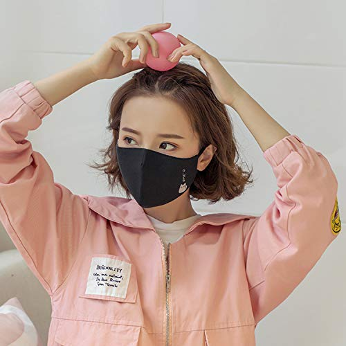 Cotton Dust Mask Cartoon Expression Face Respirator Anti Bear Mouth Mask Pink