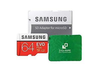 Digi WIpe Micro-SD EVO Plus - Tarjeta de Memoria para Samsung S7, S7+, S8, S8+, S9, S9 Plus (Incluye Gamuza de Microfibra de 64 GB)