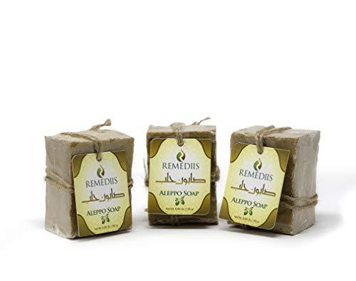 Remédiis Aleppo Soap Bar (3 Pack) 100% Vegan Handmade, 20% Laurel Bay Oil, Anti-Itching, Artisan, Eczema Soap