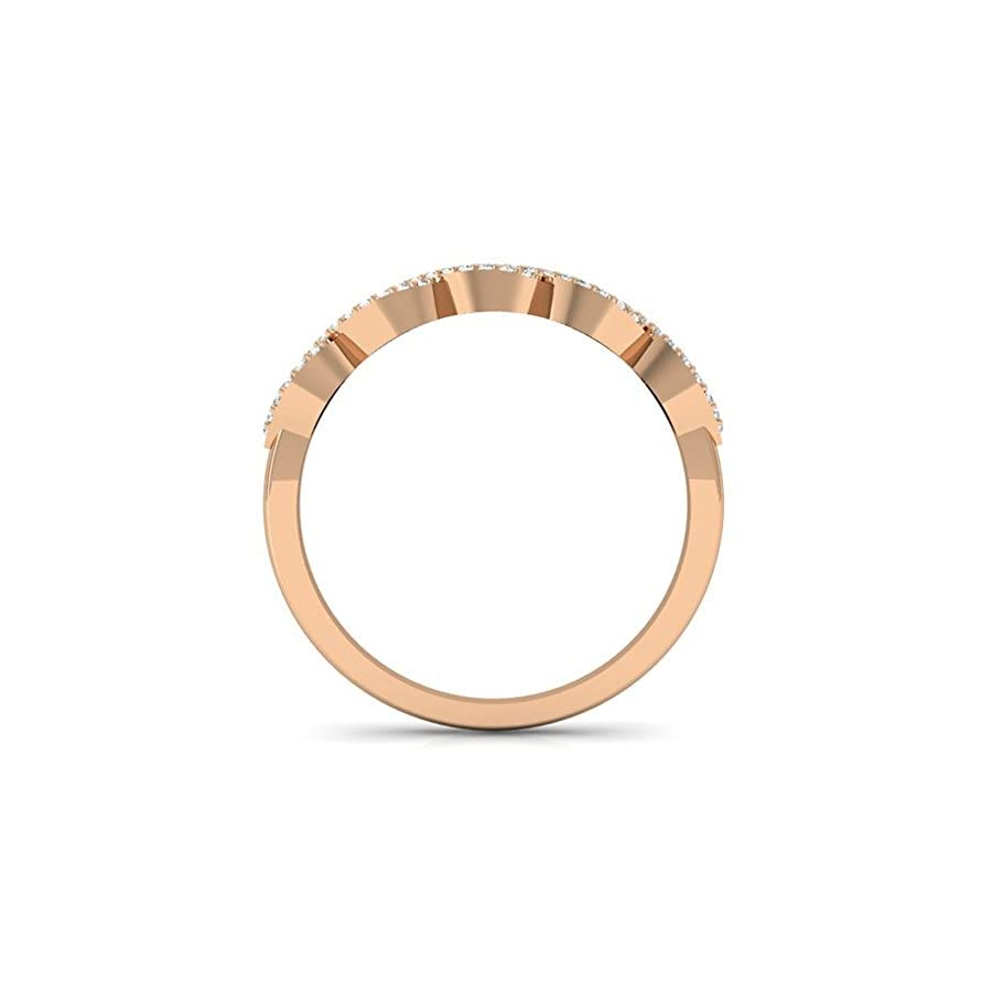 0.25 Carat (ctw) 14K Rose Gold Round Champagne & White Diamond Bridal Stackable Wedding Swirl Ring 1/4 CT