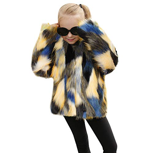 (Clearance! 1-6T Kids Toddler Baby Girl Winter Warm Coat Faux Fur Fluffy Plush Thick Jacket Wedding Party Princess Outwear (Blue, 18-24 Months))
