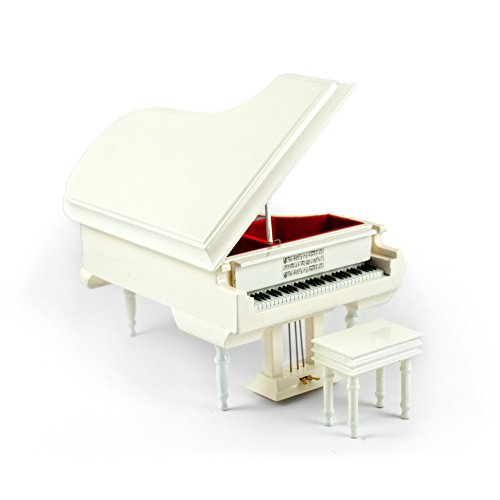 Sophisticated 18 Note Miniature Musical Hi - Over 400 Song Choices - Gloss White Grand Piano with Bench Mary Had A Little Lamb