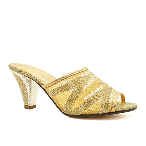 London Footwear - talón abierto mujer dorado