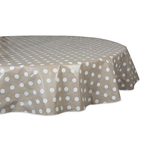 J&M Home Fashions Geometric Waterproof & Spill Proof Vinyl Tablecloth, 70 Round, Beige & White Polka Dot