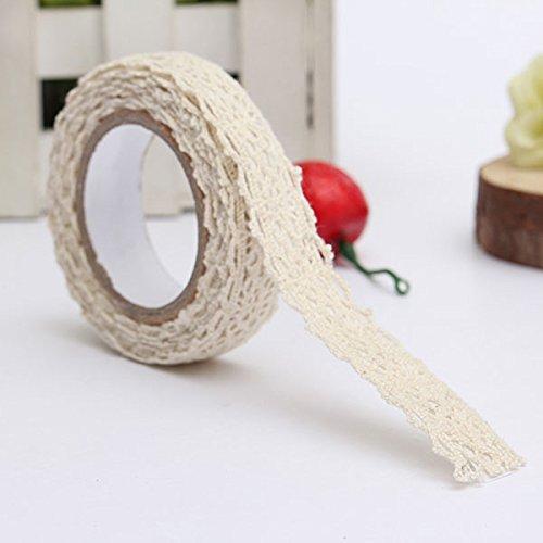 MECO 5pcs Rouleau Ruban Dentelle Décoratif Adhésif Autocollant Galon Masking Tape washi DIY 18mm beige