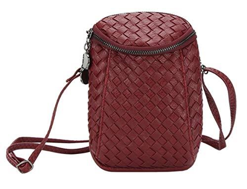 Bag Plus Dual Women��s Small Layers Purse 7s Zipper Crossbody Bag Woven for Burgundy Girls iPhone Messenger Shoulder Leather 7aadqrnw