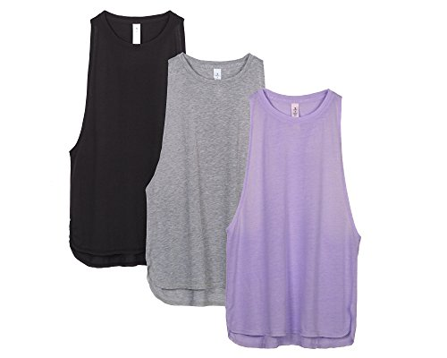 icyzone Workout Tank Tops for Women - Running Muscle Tank Sport Exercise Gym Yoga Tops Running Muscle Tanks(Pack of 3) (S, Black/Grey/Lavender)