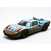 1966 Ford GT-40 MK 2 Gulf Blue Dirty Version #1 1/18 by Shelby Collectibles 405