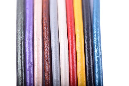KONMAY 50 Yards Round Jewelry Leather Cord Mixed 10 Colors Each Color 5 Yards (1.5mm) by Konmay