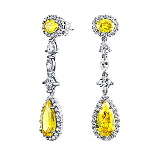 (Statement Deco Style Canary Yellow Long Teardrop Dangle Prom Pageant Chandelier Earrings For Women Silver Plated Brass)