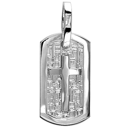 Sziro Christian Jewelry Large Cross Dog Tag Pendant with Crosses Background in Sterling Silver Cross Tag Sterling Silver Pendant