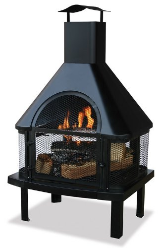Large Black Firehouse - Blue Rhino 360 Degree Uni-Flame Outdoor Patio Firehouse Fire Pit (Black), Metal, Wood Grate