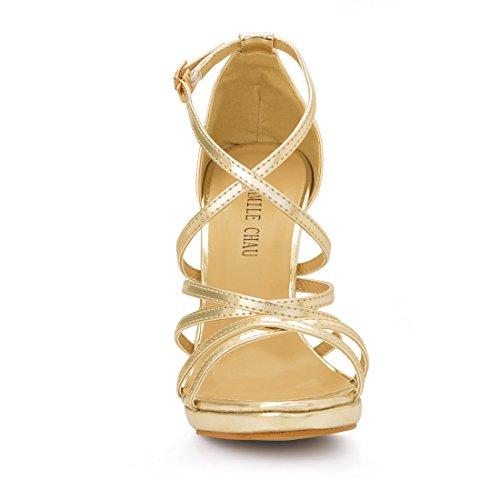 de CHMILE patent Tobillo 1cm de Elegantes Gold Nupcial Aguja Sandalias de Zapatos Correa Plataforma Fiesta de Chau Vestido Alto Mujer para Novia Tacon Boda ggUqr