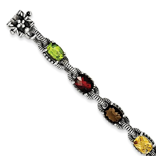 925 Sterling Silver Amethyst/citrine/garnet/peridot/smoky Quartz Bracelet 7.25 Inch Gemstone Fine Jewelry Gifts For Women For Her