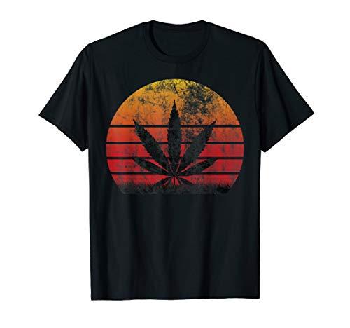 Sun Vintage T-Shirt Marijuana Weed Cannabis Leaf Retro Shirt