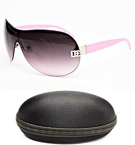 D102a-CC Designer Eyewear Oversized Shield Sunglasses (11 Silver/Pink, uv400)