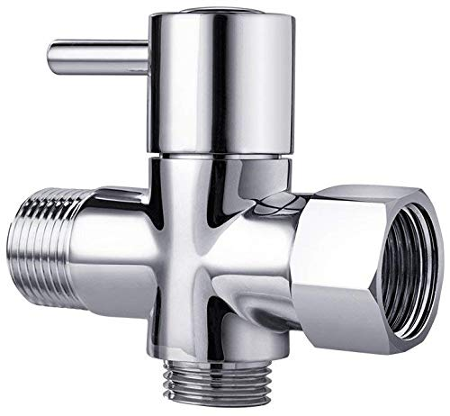 T-Valve with Shut-Off Adapter, 3-Way Tee Connector, Chrome Finish by AVAbay