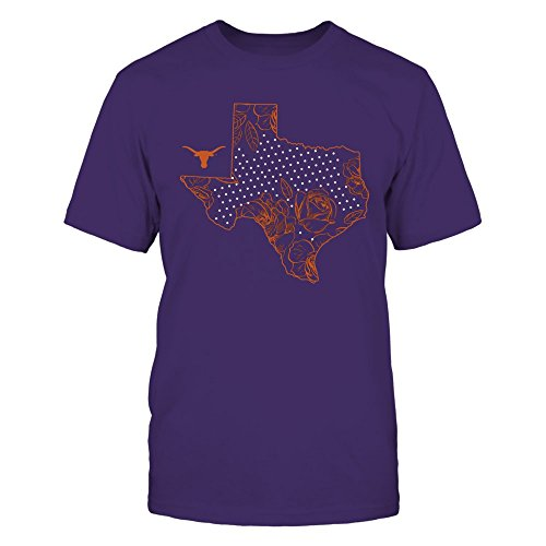 Texas Longhorns - Roses State - District Men's Premium T-Shirt - Officially Licensed Fashion Sports (Texas Longhorns Rose)