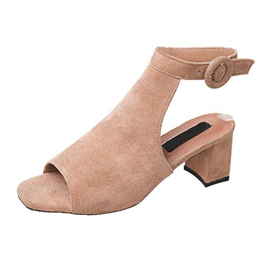 Jamicy Women Sandals, Ladies Summer Slingbacks High Heels Platform Casual Party Wedding Suede Leather Sandals Brown