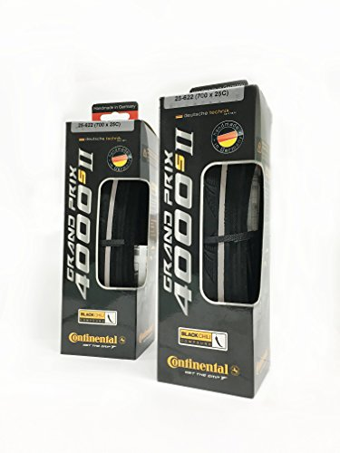 2 PACK - Continental Grand Prix 4000 S II Tire 700 x 25 Black Folding Bead with Black Chili Rubber and Reflex Reflective Strip - 2PACK