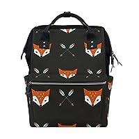 WOZO Cartoon Arrow Fox Face Multi-function Diaper Bags Backpack Travel Bag