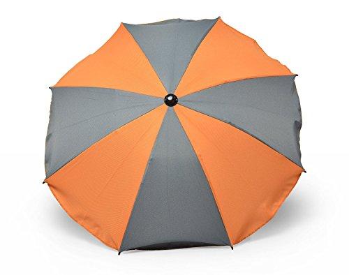 Sombrilla universal para cochecito y silla de paseo deportiva, sombrilla para cochecito de bebe con soporte universal, proteccion UV 50+ toldo protector solar (naranja y gris)