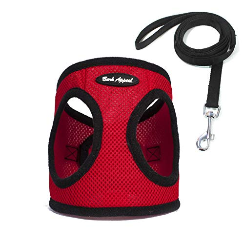 Bark Appeal No Pull Harness Pet Vest - Soft Step-in Mesh Puppy Comfort Adjustable Padded Vest EZ Wrap No Choke Design Harness with Leash (Large, Red)