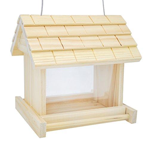 Wooden Bird (Gardirect Wooden Bird Seed Feeder, Log Cabin Bird)