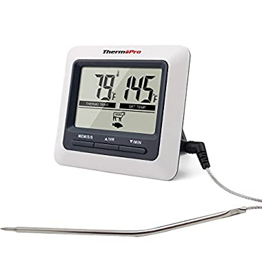 ThermoPro TP04 Large LCD Digital Kitchen Cooking Food Meat Thermometer for Smoker Oven BBQ Grill
