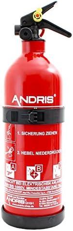 Orig. ANDRIS® Marken-Auto-Feuerlöscher 1kg ABC Pulverlöscher mit KFZ/Boot Halterung DIN EN3, ÖNORM inkl. ANDRIS® Prüfnachweis mit Jahresmarke & Orig. ANDRIS® & ISO Symbolschild