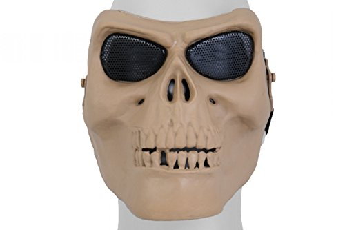UK Arms Airsoft Gen 2 Mesh Skull Full Face Mask - Tan - Two Face Costume Uk