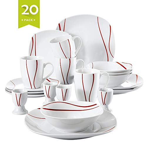 (Malacasa 20-Piece Porcelain Dinnerware Set for 6 Person, Stoneware Dinner Set with Dinner Plates Soup Plates Dessert Plates Cups Saucers Service for 6, Ivory White, Series)