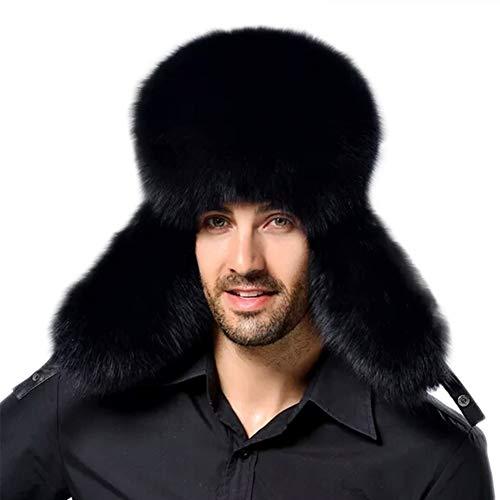 YAHUIPEIUS Faux Fur Bomber Hat Russian Ushanka Hat Tapper Hat with Earflap Black