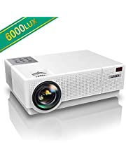 """YABER Projector 6000 Lumen 1920x1080P Native Full Hd Projectors, ±45° 4D Digital Keystone Correction Support 4K, 300"""" LCD Homesiona/Profesl Led Projector For Iphone/Smartphone/PC/TV Box/Laptop/PS4/AC3"""