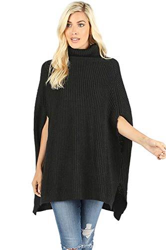 Sportoli Women's Turtleneck Thick Warm Knitted Winter Shawl Cape Poncho Wrap Sweater-Black (Medium)