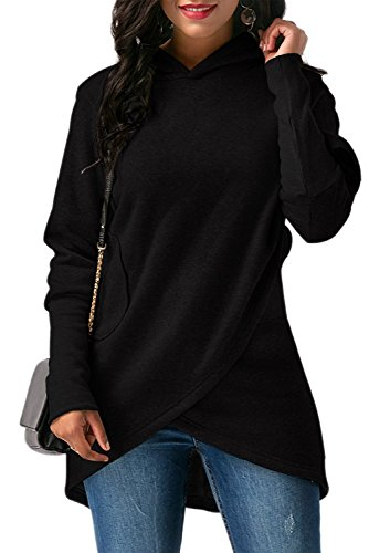 Hooded Wrap Cardigan - MineTom Womens Long Sleeves with Pocket Coat Jacket Hooded Sweatshirt Wrapped Hoodies Black US 6