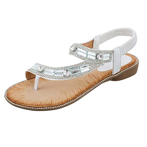 Mysky Fashion Women Summer Bohemian Casual Crystal Clip Toe Elastic Band Sandals White